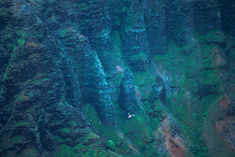 Na Pali Cliffs and Helicopter from Awa'awapui Trail, Kauai, Hawaii, US