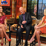 """Jennifer Lopez, Howie Mandel and  and Kelly Ripa are seen on """"Live with Kelly!""""  in New York City."""