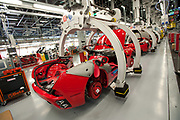 A Ferrari Nuova California is seen at the assembly line in Maranello, Italy, on Monday, July 18, 2011.<br /> Photo: Victor Sokolowicz / Bloomberg