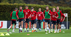 CARDIFF, WALES - Wednesday, September 2, 2020: Wales' Hal Robson-Kanu, Brennan Johnson, Ben Davies, Matthew Smith during a training session at the Vale Resort ahead of the UEFA Nations League Group Stage League B Group 4 match between Finland and Wales. (Pic by David Rawcliffe/Propaganda)