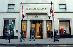 File photo dated 01/02/13 of the Burberry shop in New Bond Street, London, as the luxury fashion house is to relocate 300 jobs from its London offices to Leeds as part of cost-saving measures in a move that could see several redundancies.