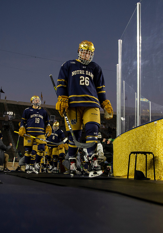 January 05, 2019:  Notre Dame forward Cam Morrison (26) during NCAA Hockey game action between the Michigan Wolverines and the Notre Dame Fighting Irish at Notre Dame Stadium in South Bend, Indiana.  Michigan defeated Notre Dame 4-2.  John Mersits/CSM