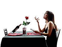 one woman waiting dinning in silhouettes on white background