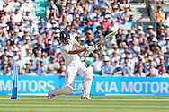 Mark Wood of England plays a shot during the 3rd day of the Investec Ashes Test match between England and Australia at the Oval, London, United Kingdom on 22 August 2015. Photo by Phil Duncan.