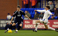 Photo: Jed Wee.<br />Tranmere Rovers v Swansea City. Coca Cola League 1.<br />26/11/2005.<br />Swansea's Sam Ricketts (L) tries to clear the ball.
