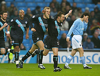Photo. Aidan Ellis.<br /> Manchester City v Leicester City.<br /> FA Cup Rd3.<br /> 03/01/04.<br /> Leicester's Paul Dickov celebrates his early goal