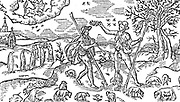 Illustration for November for  Edmund Spenser's poem  'The Shepheard's Calendar', 1597.  Two shepherds holding their shpherd's crooks  guard their flocks, one of them playing  a wiond instrument.  Woodcut.
