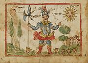 Joshua from an 18th century Hebrew Manuscript Tefilot u-piyuṭim (Prayers and songs) illuminated colour manuscript by Mordo, Eliʻezer;