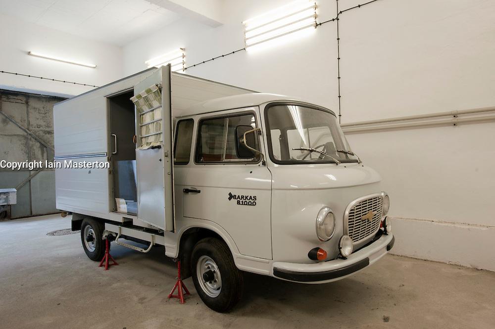 Former prisoner transport van at former East German state secret security police or STASI prison at Hohenschönhausen in Berlin Germany