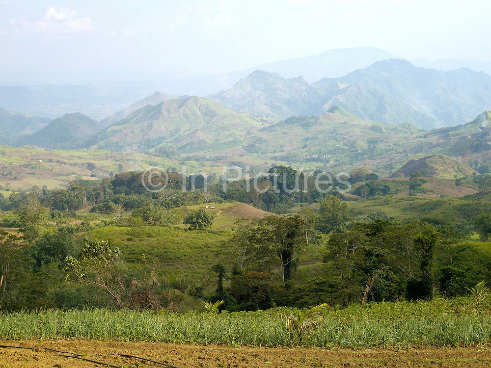 Agricultural landscape of Cotobato province, Mindanao Island, The Philippines. In the Philippines climate change is contributing to an increase in the frequency and intensity of typhoons as well as a general rise in temperatures and rain leading to an increase in droughts, flash floods and landslides. This is having a huge impact on smallholder farmers who depend on one cash crop leaving them vulnerable to any changes in weather patterns. If their crops fail they are left with no other source of income for that year. In central Mindanao Oxfam is working with local partners and governments to increase awareness of climate change in poor communities and reduce the risks it creates to vulnerable farmers by supporting them in crop diversification.