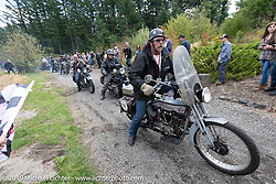Rowdy Schenck riding his 1928 Harley-Davidson JD across the finish line at the Skamania Lodge at the end of the Motorcycle Cannonball coast to coast vintage run. Stage 15  (51 miles - the Grand Finish) from The Dalles to Stevenson, OR. Sunday September 23, 2018. Photography ©2018 Michael Lichter.
