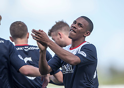 Falkirk's Phil Roberts celebrates after scoring their third goal.<br /> Falkirk 3 v 1 Morton, Scottish Championship 17/8/2013.<br /> ©Michael Schofield.
