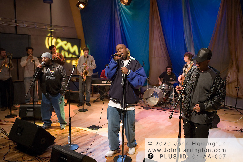 """American hip hop group Wu-Tang Clan performs at XM Radio on Sunday October 23, 2005.  The performance was a part of XM's """"Artist Confidential"""" series."""
