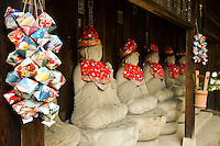 Jizos at Kokubunji Temple - Jizo statues are popular in Japan as Bodhisattva who console beings awaiting rebirth as well as comfort for travelers.  The jizos shown in this image are at Kokubunji Temple in Takayama.