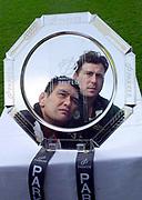 Kassam Stadium, OXFORD, Parker Pen Shield Press Conference.<br /> 23/04/2002 Kassam Stadium<br /> Pontypridd's Dale McIntosh (Bottom) and Kieran Dawson of London Irish take a look at the Parker Pen Shield,