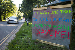 A sign stands alongside the road at the Stop HS2 Great Missenden roadside camp on 17th July 2020 in Great Missenden, United Kingdom. Environmental activists from groups including Stop HS2 and HS2 Rebellion continue to protest against HS2, which is currently projected to cost £106bn and which will remain a net contributor to CO2 emissions during its projected 120-year lifespan, on environmental and economic grounds.