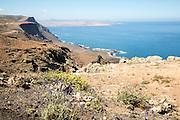 Steep coastal cliffs Risco de Famara looking south from the Mirador el Rio, Lanzarote, Canary Islands, Spain