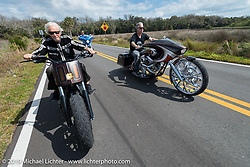 Arlen Ness riding with his son Cory and grandson Zach in Tamoka State Park with his father Arlen Ness and son Zach and  during the Daytona Bike Week 75th Anniversary event. FL, USA. Monday March 7, 2016.  Photography ©2016 Michael Lichter.