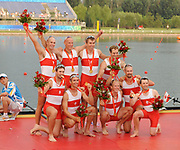 Shunyi, CHINA. GBR M8+,  Men's eights final, Gold medalist CAN M8+(b), LIGHT Kevin, RUTLEDGE Ben, BYRNES Andrew, WETZEL Jake<br /> HOWARD Malcolm, SEITERLE Dominic, KREEK Adam, HAMILTON Kyle and cox, PRICE Brian. Awards Dock. <br />  at the 2008 Olympic Regatta, Shunyi Rowing Course.  17/08/2008 [Mandatory Credit: Peter SPURRIER, Intersport Images