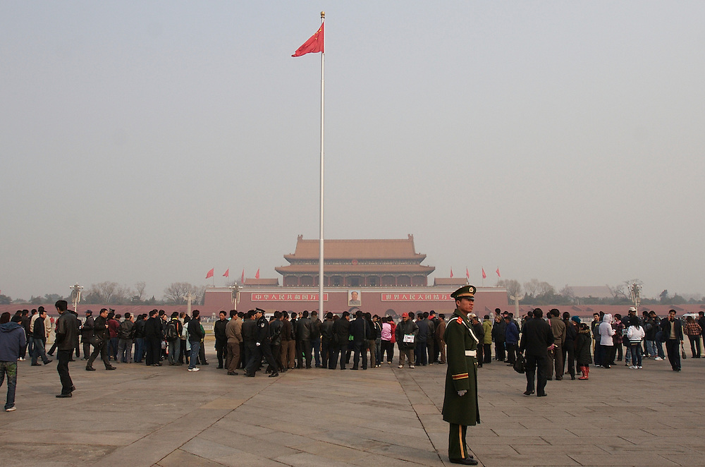 Tiananmen Square facing the   south entrance of the Forbidden City in Beijing, China.