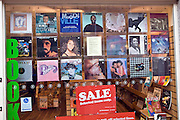 Window display vintage LP records in Oxfam charity shop