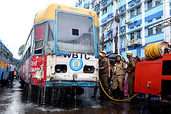 August 29, 2017 - Kolkata, West Bengal, India - A tram caught fire at Moulali crossing on its way to Nonapukur tram depot for repairing on August 29, 2017 in Kolkata. (Credit Image: © Saikat Paul/Pacific Press via ZUMA Wire)