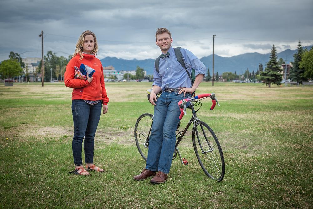 Friends Britta Hamre and Mark Hansen on the Delaney Park Strip in Anchorage.