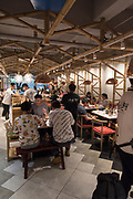 Interior of a restaurant at the food market in Chengdu, Sichuan, China