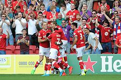 Jonathan Kodjia of Bristol City celebrates his goal which makes it 1-0 - Mandatory byline: Dougie Allward/JMP - 07966386802 - 15/08/2015 - FOOTBALL - Ashton Gate -Bristol,England - Bristol City v Brentford - Sky Bet Championship