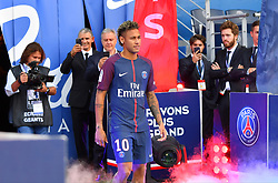 New PSG recruit Neymar Jr is presented to the club's supporters ahead of French First League match PSG vs Amiens SC held at Parc des Princes stadium in Paris, France on August 5, 2017. Photo by Christian Liewig/ABACAPRESS.COM