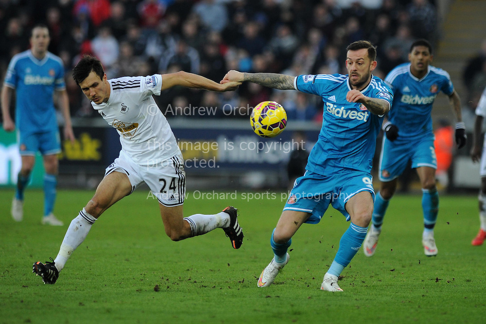 Swansea city's Jack Cork (l) tussles with Sunderland's Steven Fletcher ®. Barclays premier league match, Swansea city v Sunderland at the Liberty stadium in Swansea, South Wales on Saturday 7th Feb 2015.<br /> pic by Andrew Orchard, Andrew Orchard sports photography.