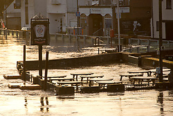 © Licensed to London News Pictures. 18/02/2020. Upton-upon-Severn, Worcestershire, UK. Although river levels have dropped fractionally, a severe flood warning is still in force at Upton-upon-Severn, in Worcestershire, UK. Photo credit: Graham M. Lawrence/LNP