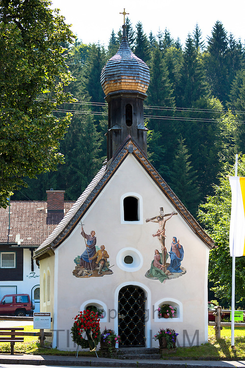 Church of St Peter and Paul with traditional onion dome in the village of Klais in Bavaria, Germany