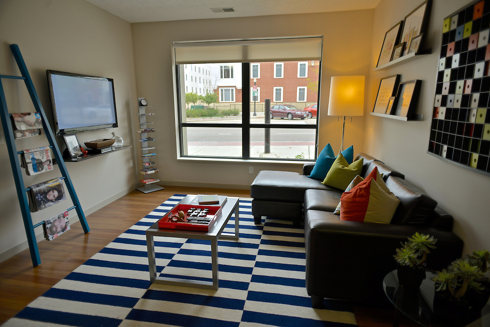 Living room of a model apartment at the 401 Lofts apartments.