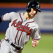NEW YORK, NEW YORK - SEPTEMBER 26:  Ender Inciarte #11 of the Atlanta Braves rounds third base to score during the Atlanta Braves Vs New York Mets MLB regular season game at Citi Field, Flushing, Queens, on September 26, 2017 in New York City. (Photo by Tim Clayton/Corbis via Getty Images)
