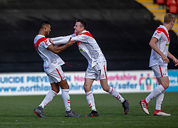 Airdrie's Joao Victoria (11) celebrates with Airdrie's Dean Cairns after scoring their third goal. Airdrie 3 v 4 Raith Rovers, Scottish Football League Division One played 25/8/2018 at the Excelsior Stadium.