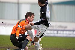 Falkirk's keeper Michael McGovern saves from  Dunfermline's Craig Dargo. Falkirk 1 v 0 Dunfermline, 16/2/2013..©Michael Schofield.