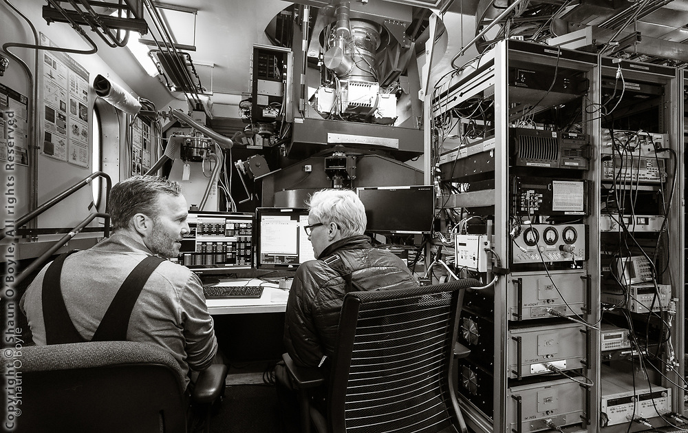John Kovac, PI of the Keck Array to Bicep Array upgrade, with Paula Crock at the controls of the BICEP3 telescope
