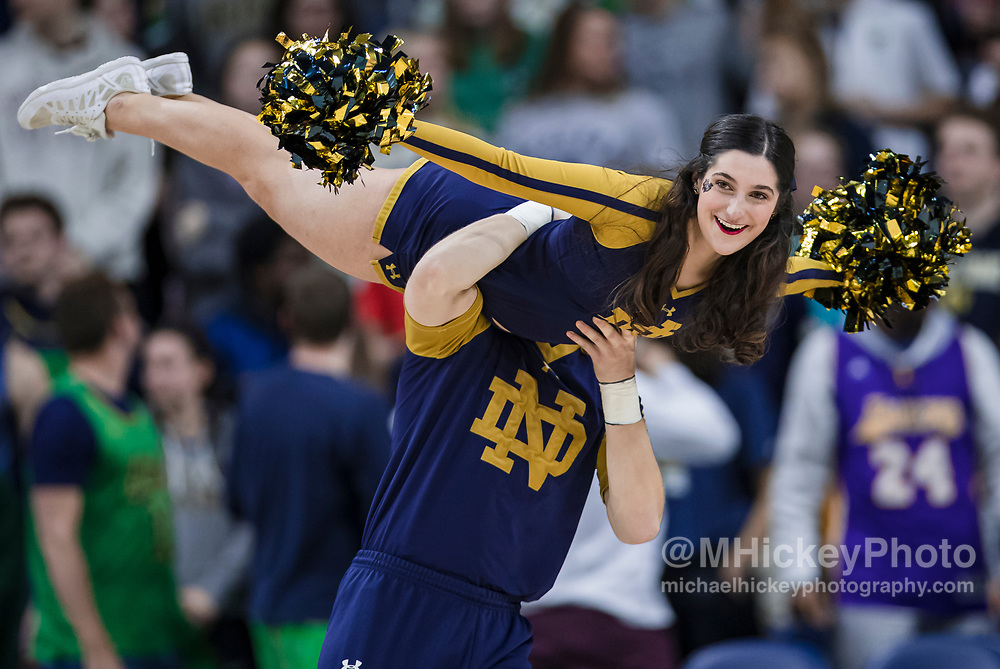SOUTH BEND, IN - MARCH 04: A Notre Dame Fighting Irish cheerleader is seen during the game is seen during the game against the Florida State Seminoles at Purcell Pavilion on March 4, 2020 in South Bend, Indiana. (Photo by Michael Hickey/Getty Images)
