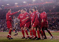 Photo: Glyn Thomas.<br />Birmingham City v Liverpool. The FA Cup. 21/03/2006.<br /> Liverpool's Fernando Morientes is mobbed by teammates after scoreing his side's fourth goal.