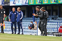 Football - 2020 / 2021 Sky Bet League One - Portsmouth vs. Accrington Stanley - Fratton Park<br /> <br /> Portsmouth's Head Coach Danny Cowley shout some encouragement to his side during the League One fixture at Fratton Park <br /> <br /> COLORSPORT/SHAUN BOGGUST