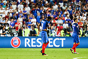 French players after being defeated by Portugal in the final match of the Euro Football Championship, by 1-0 on extra-time. Th EURO 2016 was held in France.