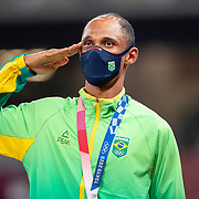 TOKYO, JAPAN August 3:  Alison dos Santos of Brazil on the podium after receiving his bronze medal for the Men's 400m Hurdles at the Olympic Stadium during the Tokyo 2020 Summer Olympic Games on August 3rd, 2021 in Tokyo, Japan. (Photo by Tim Clayton/Corbis via Getty Images)