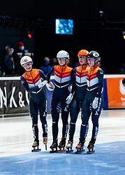 Suzanne Schulting of Netherlands, Yara van Kerkhof of Netherlands, Selma Poutsma of Netherlands, Rianne de Vries of Netherlands after 3000 meter relay during ISU World Short Track speed skating Championships on March 06, 2021 in Dordrecht
