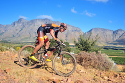 WELLINGTON SOUTH AFRICA - MARCH 22: Jordan Sarrou during stage three's 111km from Wellington to Worcester on March 22, 2018 in Western Cape, South Africa. Mountain bikers gather from around the world to compete in the 2018 ABSA Cape Epic, racing 8 days and 658km across the Western Cape with an accumulated 13 530m of climbing ascent, often referred to as the 'untamed race' the Cape Epic is said to be the toughest mountain bike event in the world. (Photo by Dino Lloyd)