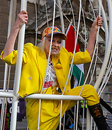Vivienne Westwood in a giant bird cage outside the Old Bailey