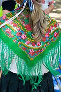Beautiful green flowered scarf. Svenskarnas Dag Swedish Heritage Day Minnehaha Park Minneapolis Minnesota USA