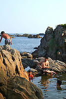 Ashitsuki Hot Springs on Shikinejima island. These hot springs are free of charge, but the temperature changes radically throughout the day depending on the tides as the water seeps in from the ocean. These springs are famous throughout Japan for their healing properties. Hot spring or onsen bathing is a popular form of entertainment and relaxation for the Japanese.