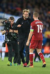 23rd August 2017 - UEFA Champions League - Play-Off (2nd Leg) - Liverpool v 1899 Hoffenheim - Liverpool manager Jurgen Klopp celebrates victory with captain Jordan Henderson - Photo: Simon Stacpoole / Offside.