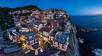 Panoramic aerial view of Manarola during the night, Italy